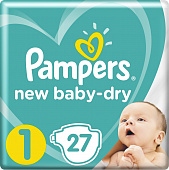 Pampers Подгузники New Baby-Dry 2-5 кг (размер 1) 27 шт
